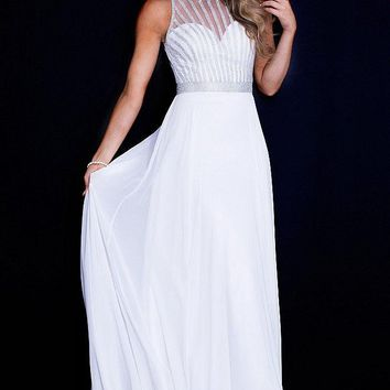 Jovani - JVN55925 Sequin Embellished Chiffon Evening Dress