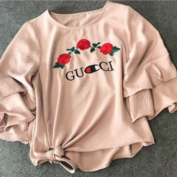 GUCCI ROSE embroidery A chiffon shirt with a seven-minute sleeve for 2017 spring style