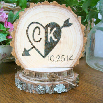 Rustic Wood Cake Topper Wedding Romantic Heart Personalized Initials Date
