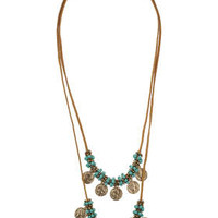 Fabric And Coin Drop Necklace - Turquoise