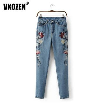 Women Vintage Floral Embroidery Ripped Washed Bleached Jeans Skinny Pencil Pants YN-4610
