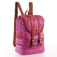 Large Exotic Magenta Backpack Ethnic Hand Stitched and Embroidered Textile
