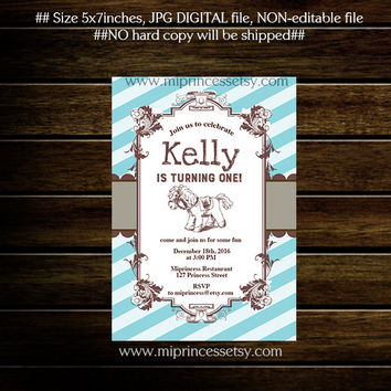 Baby Shower OR birthday invitation Rocking Horse Invitation , pony,  1st 2nd 3rd 4th 5th 6th 7th 8th 9th 10th 11 12 kids party  card 205