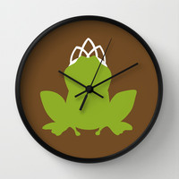 The Princess and the Frog Wall Clock by Citron Vert | Society6