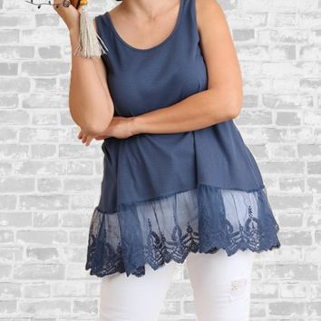 Lace Trim Extender Tank - Washed Navy