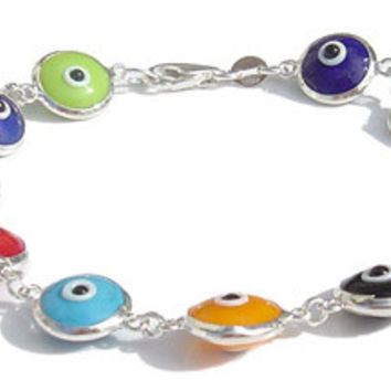 Multi Color Evil Eye Silver Bracelet II