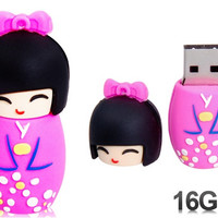 Cute Japanese Doll Design 16GB USB Flash Drive (Pink)