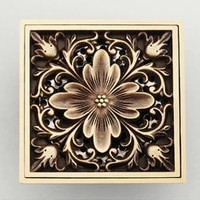 Antique Copper Anti-Odor Square Peony Bathroom Accessories Sink Floor Shower Drain Cover Luxury Sewer Filter Gz8402 Shipping