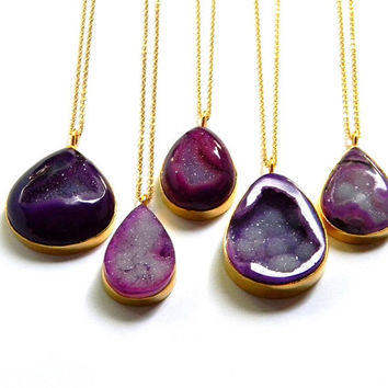 Drusy Necklace - Druzy Crystal Necklace - Gold Framed Necklace - Purple Druzy Necklace - Long Layering Necklace