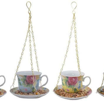 Hanging Teacup Feeder - Yellow