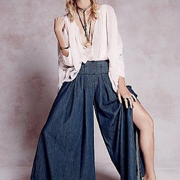 Free People Womens Everleigh Slit Wideleg