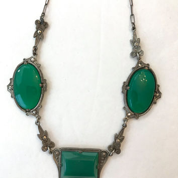 Antique Sterling Silver Chrysoprase Necklace 1920s Vintage Art Deco Marcasite Green Chalcedony Stone Estate Jewelry Wedding Bridal Necklace