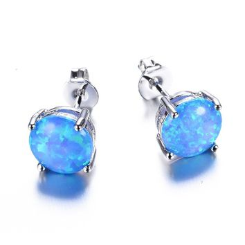 Sterling Silver Round Natural Blue Opals Stone Stud Earrings
