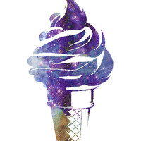 Ice Cream Cone Galaxy Universe Art Print Kitchen Art