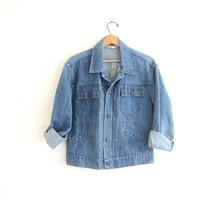 Vintage 70s washed out denim Jean Jacket with snaps / distressed denim