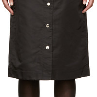 Black Nylon Button Skirt