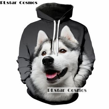 PLstar Cosmos Husky Round Neck Long Sleeve 3D Animal Hoodie Sweatshirt Print Hipster Street Casual Men Woman coat 5XL