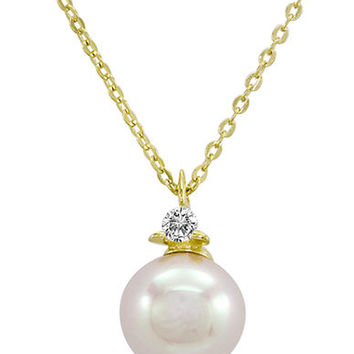 Majorica 18Kt Gold Vermeil and Round Pearl Necklace