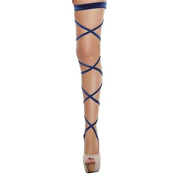 Velvet Leg Strap with Attached Garter