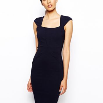 Vesper Valentina Pencil Dress with V Detail - Navy