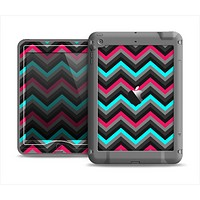 The Sharp Pink & Teal Chevron Pattern Apple iPad Mini LifeProof Nuud Case Skin Set