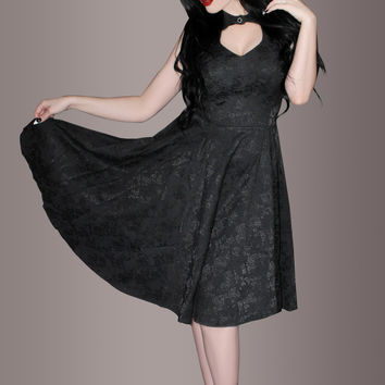 Black Floral Vintage 50's Pin Up Cocktail Dress with Collar