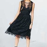Kimchi Blue Sheer Lace Bodice Midi Dress- Black