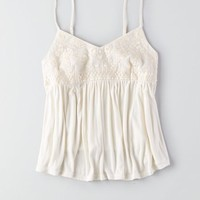AEO Women's Flowy Embroidered Cami (Chalk)