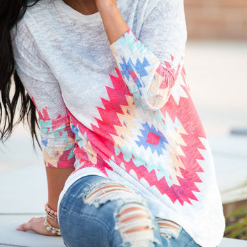 Love Lust Long Aztec Sleeve Top