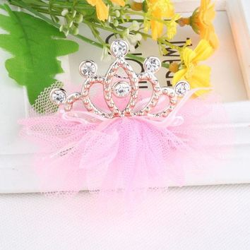 ONETOW Hot Sale Baby Tiaras Hair Accessories Ribbon Bow-knot Net Yarn Hollow Crown Hair Ornaments Hairpins Rhinestone  Hairclips