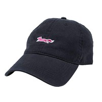 Longshanks Solid Pink Logo Hat in Navy Twill by Country Club Prep