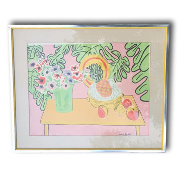 Vintage Large Henri Matisse Original Lithograph Framed, Pineapple and Anemones 1940