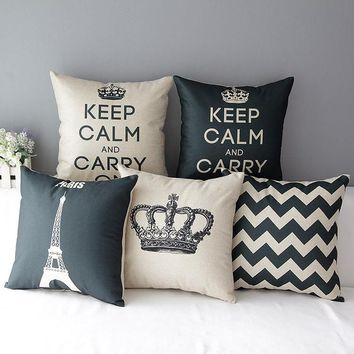 crown decorative pillow Geometric cushion cover almofadas vintage cojines decorativos black cushions home decor