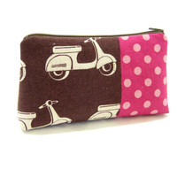 Cosmetic Bag, Accessory Pouch, Echino Scooter Print, Ready to Ship