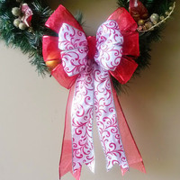 Red and White Filigree Christmas Wreath Bow-Red and White Decorative Christmas Bow- Wreath Bow- Tree Topper Bow-Mailbox Bow-Stair Door