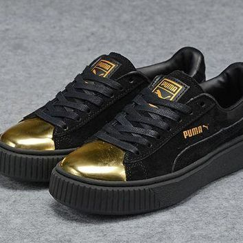 DCCKIJ2 Puma Rihanna Casual Suede Creeper Flatform Shoes Black Golden