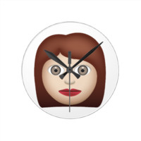 Woman Emoji Round Wall Clock