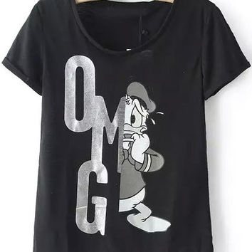 Black Round Neckline Shirt with OMG Cartoon Character Print Detail