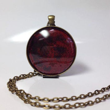 Large Round Hand Painted Vintage looking Pendant Statement Necklace Hand painted jewelry  Hand Painted Glass necklace Dark ruby red