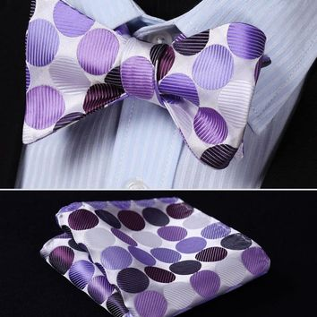 BD401P Purple Polka Dot 100%Silk Jacquard Woven Men Butterfly Self Bow Tie BowTie Pocket Square Handkerchief Hanky Suit Set