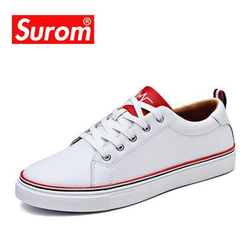 SUROM New Men's Casual Shoes White Color Classic Sneakers Krasovki Flats Man Round Toe Brogue Shoes Leather Fashion Loafers