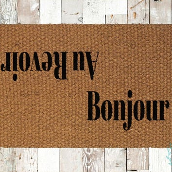 Bonjour/Au Revoir Coir Doormat, Decorative Area Rug, Hand Painted Hand Woven, Housewarming Gift