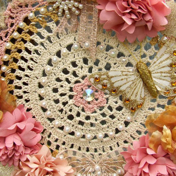 Pink and Cream Doily Dream Catcher - Art wall hanging - Home Decor - Dream protection - Pagan Gifts by Urban Goddess