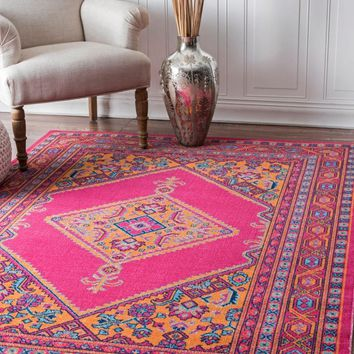 nuLOOM Vintage Bordered Medallion Adame Area Rug