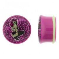 Purple Acrylic Plug With Zombie Pin Up Logo On Single Flare With O - Ring - Sold As A Pair