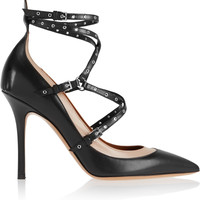 Valentino - Love Latch eyelet-embellished leather pumps