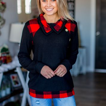 Starts With You Buffalo Plaid Top- Black