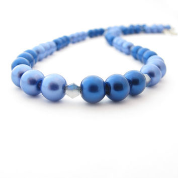 Blue and Purple Beaded Fake Pearl Necklace