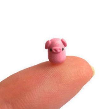 Micro polymer clay pig sculpture, miniature pink pig figure, tiny terrarium pig figurine, small collectible pig.