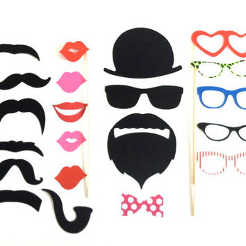 Hipster Photobooth Prop Set of 21 Photo Booth Props Set  Birthdays Weddings Parties Wedding Day Props Birthday Party Decorations Photobooth
